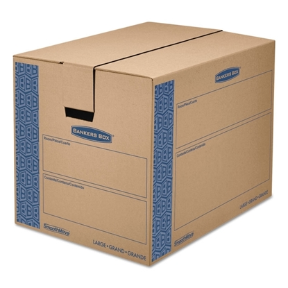 Large Moving Boxes, SmoothMove Prime, Kraft/Blue, 6/Carton, 24l x 18w x 18h