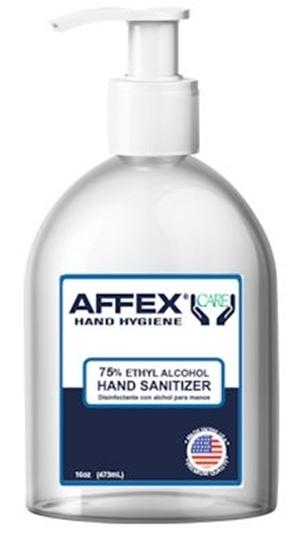 Picture of AFFEX Care Gel Hand Sanitizer w/ Aloe 16 oz w/ Pumps, 75% Ethyl Alcohol, 12 per case