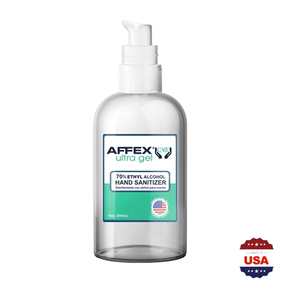 AFFEX Care Ultra Gel Hand Sanitizer 4oz Pump, 70% Ethyl Alcohol