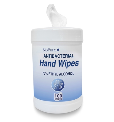 Picture of Sanitizer Alcohol Wipes, 75% Ethyl, BioPure, 100 wipes per can