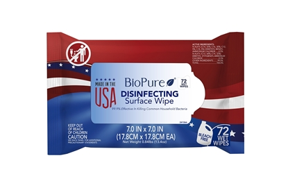 "Picture of BioPure Disinfectant Wipes, 7""x7"", Pouches, Lemon, 99.9% effective, 72 EA/PK"